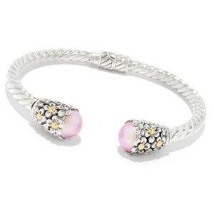 Pearl Cuff Bracelet Sterling Silver 18k Gold Pink
